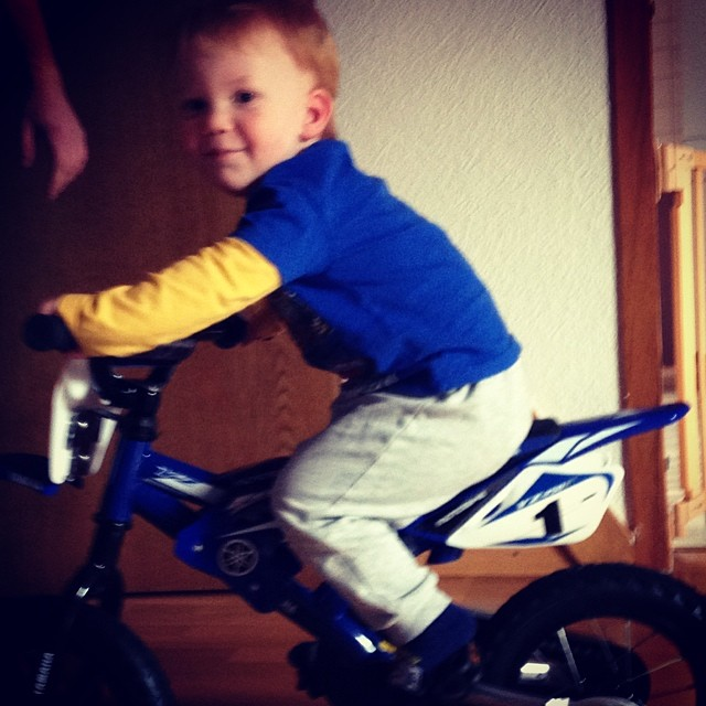 Already a natural. Ride it like you stole it baby. #bestbikeever #yamaha #toddlersofig #happybirthday