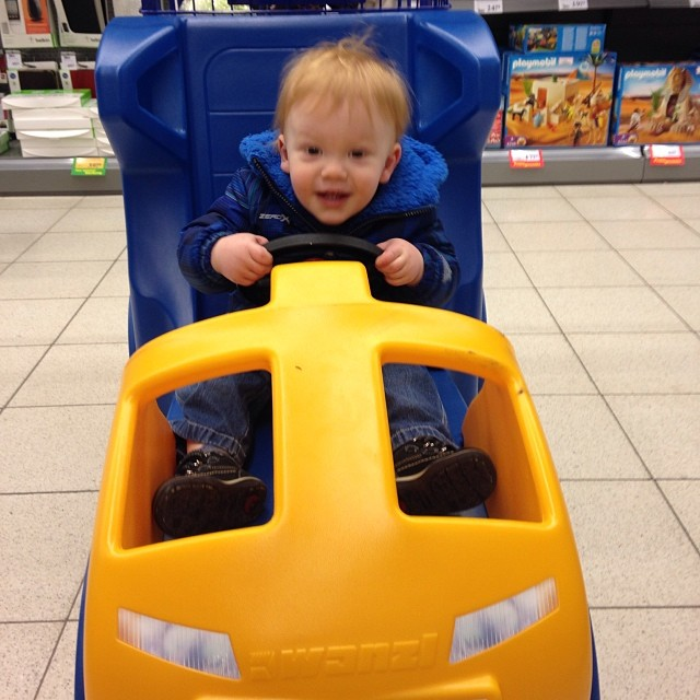 Someone's in a hurry to finish up last minute #christmas shopping! And also needs to get a hair cut. 😉 #toddlers #toddlersofinstagram #futureracecardriver #daddyisproud