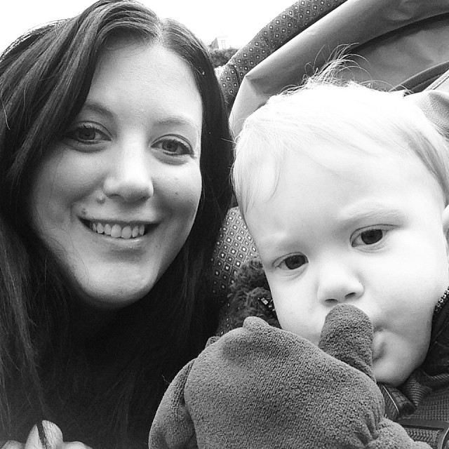 Quick picture after enjoying a cinnamon sugar crepe at the Christmas market. #hesthecutest #mommyandme #love